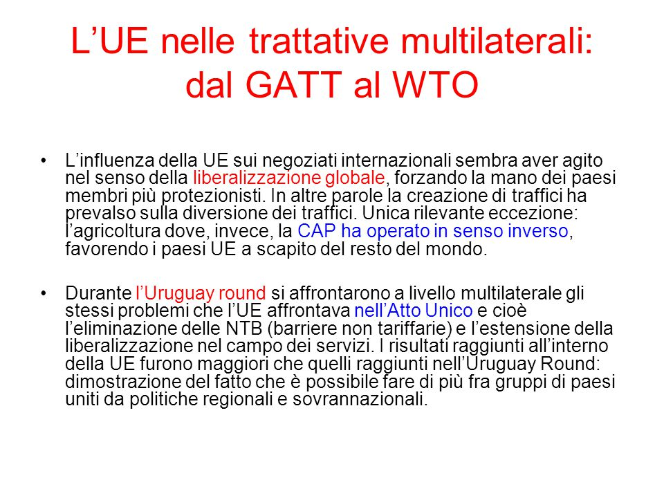 L'UE nelle trattative multilaterali: dal GATT al WTO
