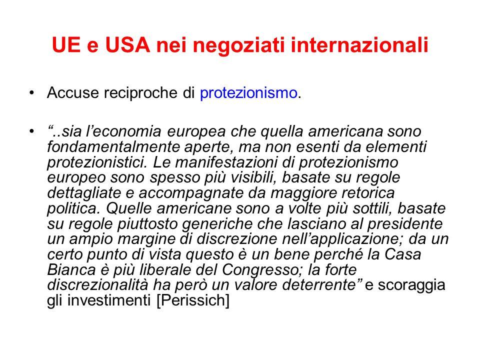UE e USA nei negoziati internazionali