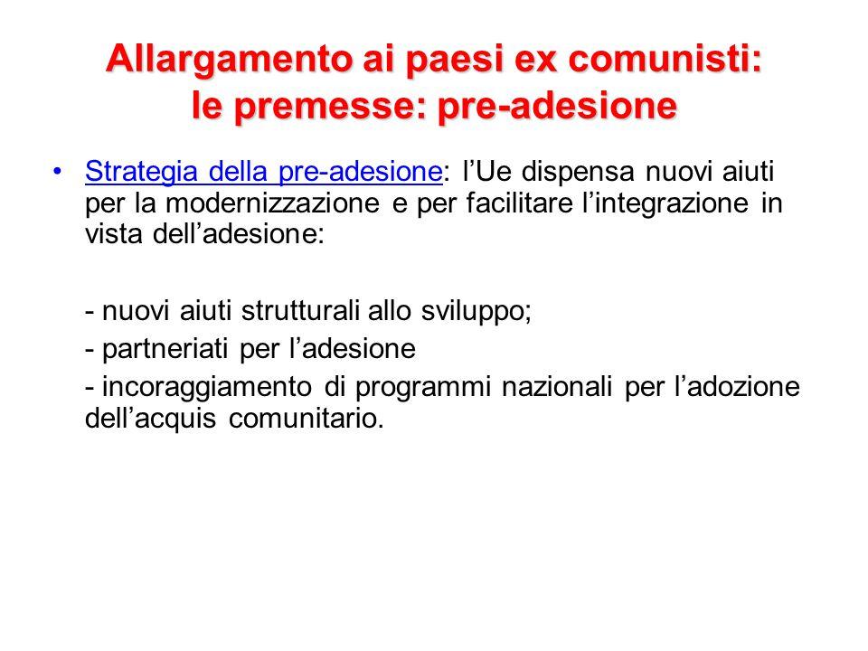 Allargamento ai paesi ex comunisti: le premesse: pre-adesione
