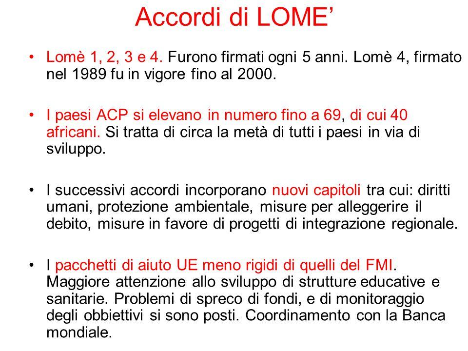 Accordi di LOME' Lomè 1, 2, 3 e 4. Furono firmati ogni 5 anni. Lomè 4, firmato nel 1989 fu in vigore fino al 2000.