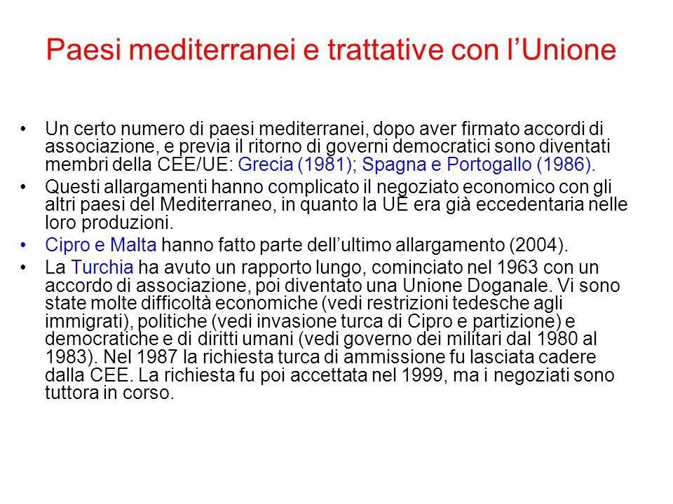 Paesi mediterranei e trattative con l'Unione
