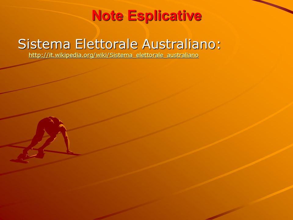 Note Esplicative Sistema Elettorale Australiano: http://it.wikipedia.org/wiki/Sistema_elettorale_australiano.