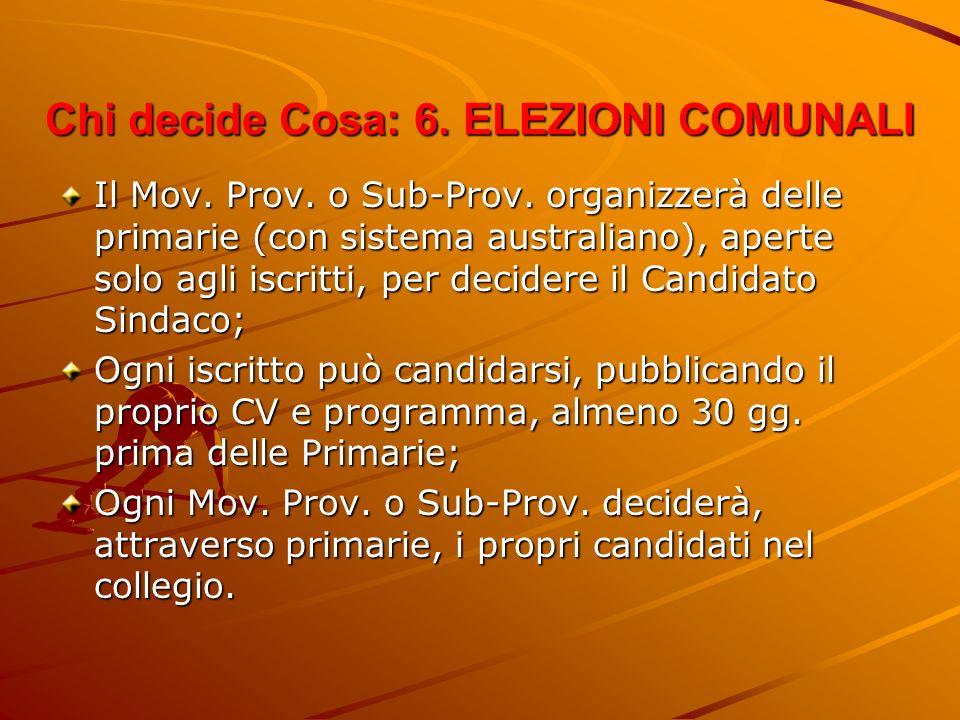 Chi decide Cosa: 6. ELEZIONI COMUNALI