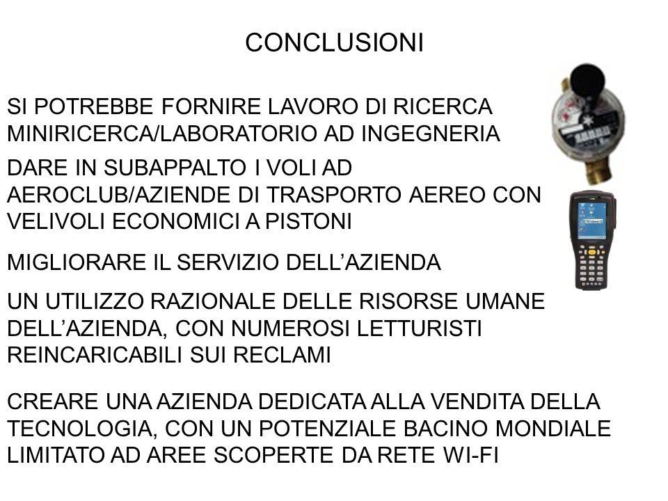 CONCLUSIONI SI POTREBBE FORNIRE LAVORO DI RICERCA MINIRICERCA/LABORATORIO AD INGEGNERIA.