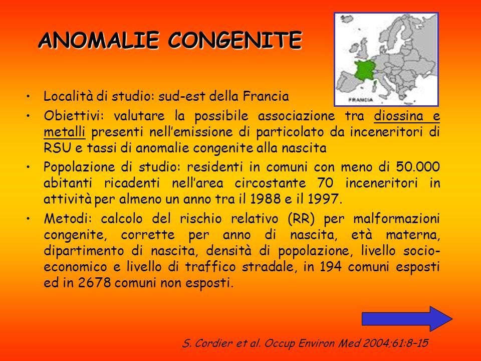 ANOMALIE CONGENITE Località di studio: sud-est della Francia