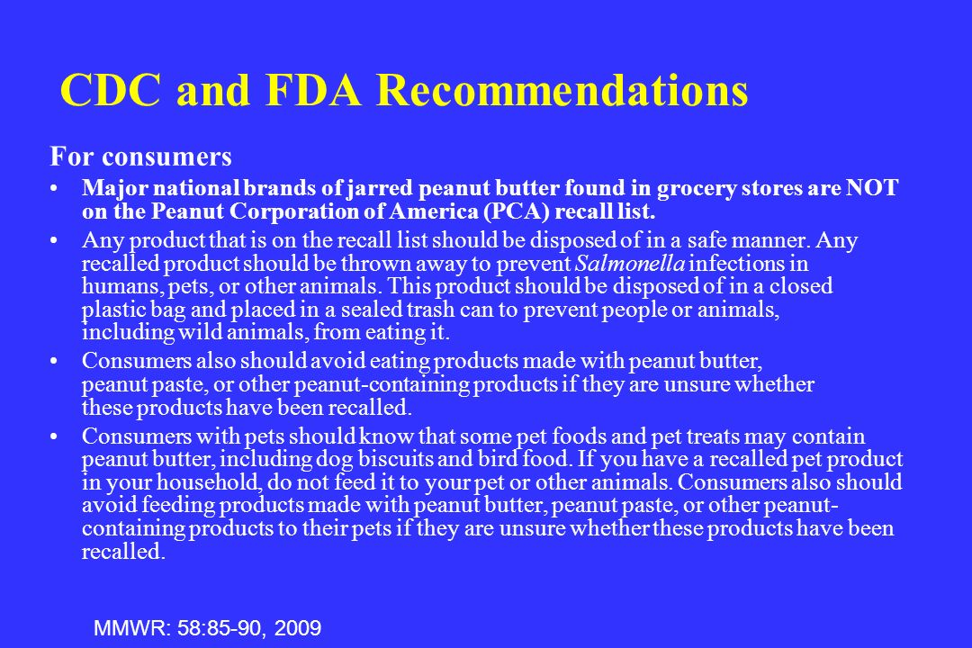 CDC and FDA Recommendations
