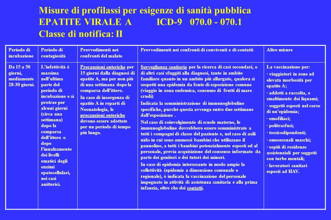 Misure di profilassi per esigenze di sanità pubblica EPATITE VIRALE A