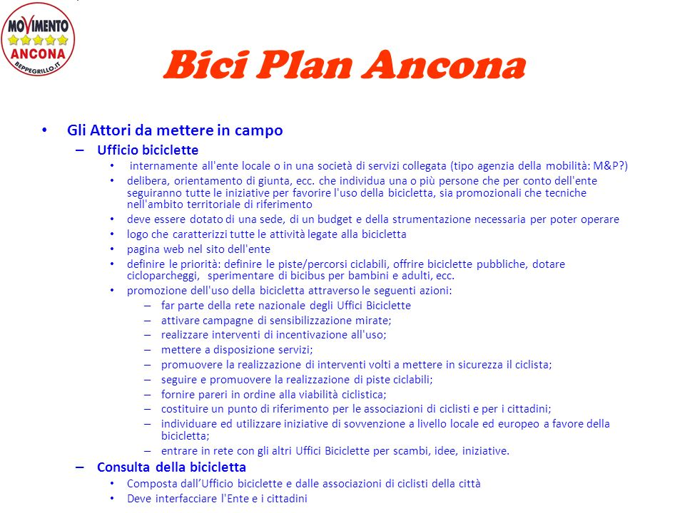 Bici Plan Ancona Gli Attori da mettere in campo Ufficio biciclette