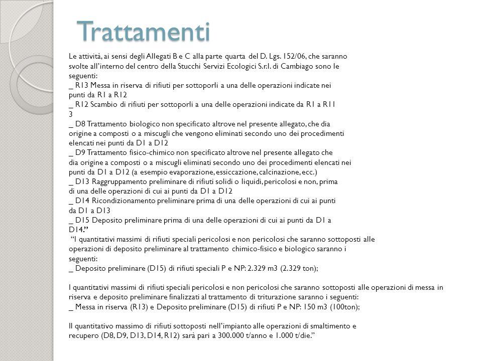 Trattamenti Le attività, ai sensi degli Allegati B e C alla parte quarta del D. Lgs. 152/06, che saranno.