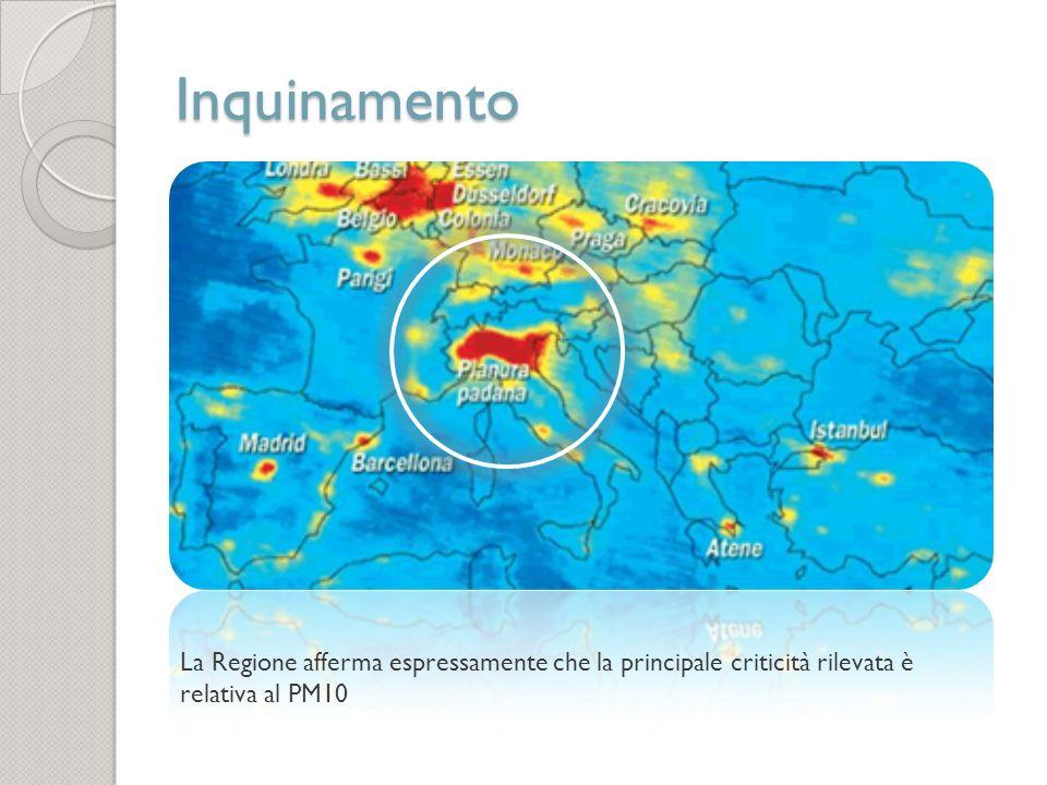Inquinamento La Regione afferma espressamente che la principale criticità rilevata è relativa al PM10.