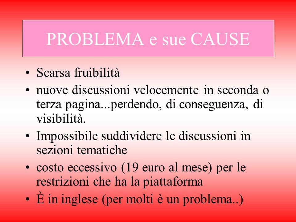 PROBLEMA e sue CAUSE Scarsa fruibilità