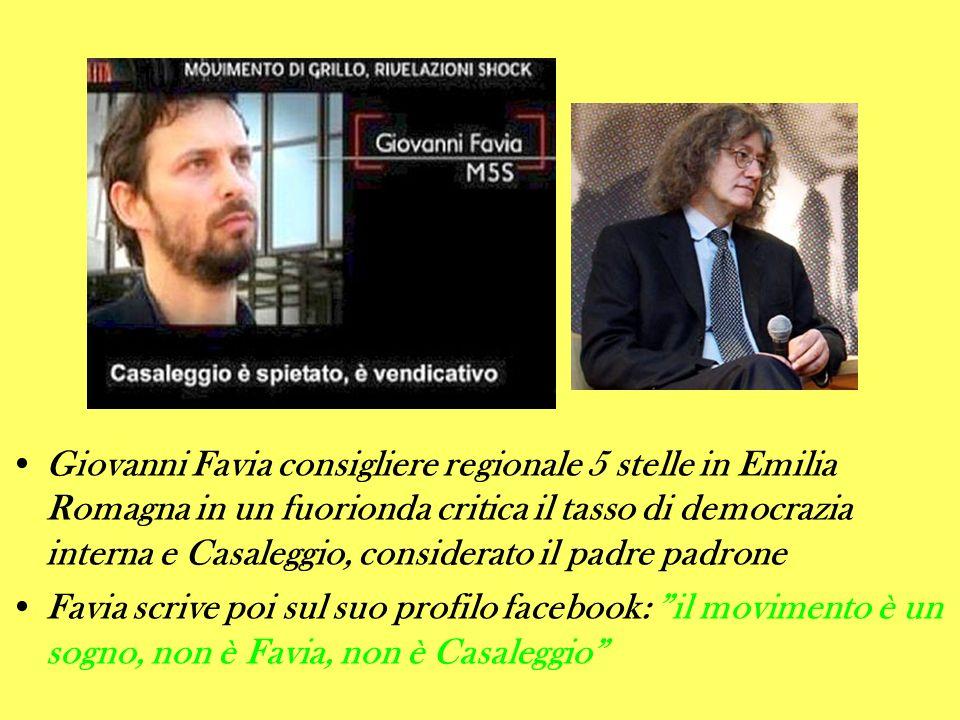 Giovanni Favia consigliere regionale 5 stelle in Emilia Romagna in un fuorionda critica il tasso di democrazia interna e Casaleggio, considerato il padre padrone