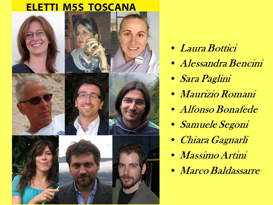Laura Bottici Alessandra Bencini. Sara Paglini. Maurizio Romani. Alfonso Bonafede. Samuele Segoni.