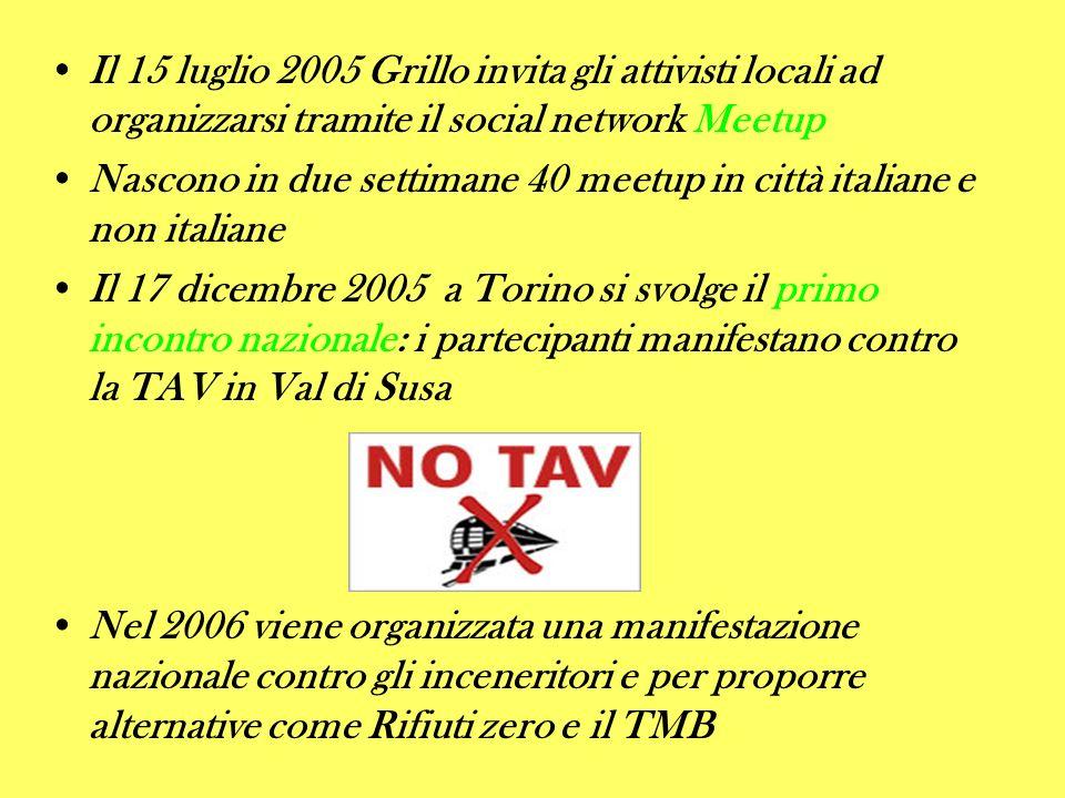 Il 15 luglio 2005 Grillo invita gli attivisti locali ad organizzarsi tramite il social network Meetup