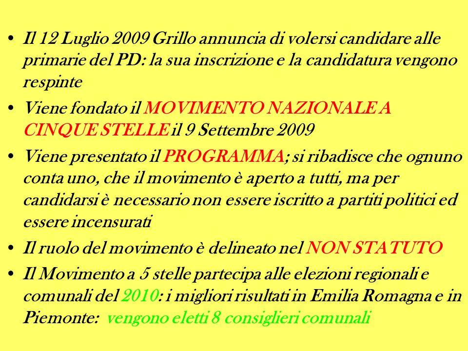 Il 12 Luglio 2009 Grillo annuncia di volersi candidare alle primarie del PD: la sua inscrizione e la candidatura vengono respinte