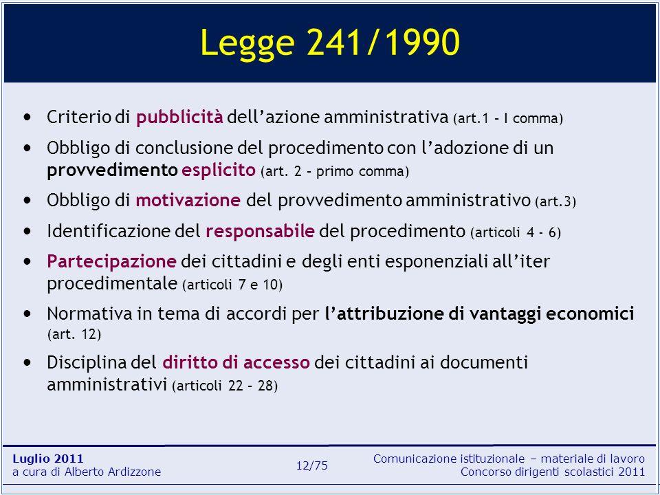 Legge 241/1990Criterio di pubblicità dell'azione amministrativa (art.1 – I comma)