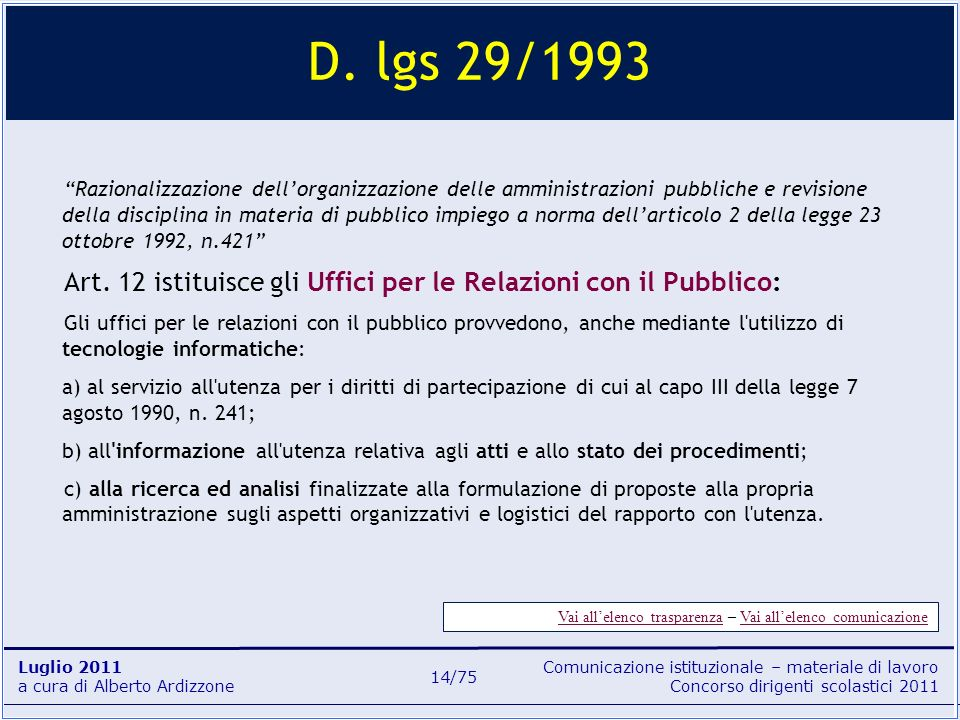 D. lgs 29/1993