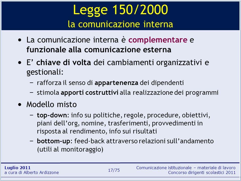 Legge 150/2000 la comunicazione interna