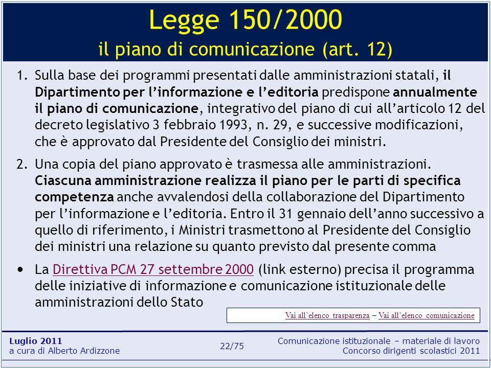 Legge 150/2000 il piano di comunicazione (art. 12)
