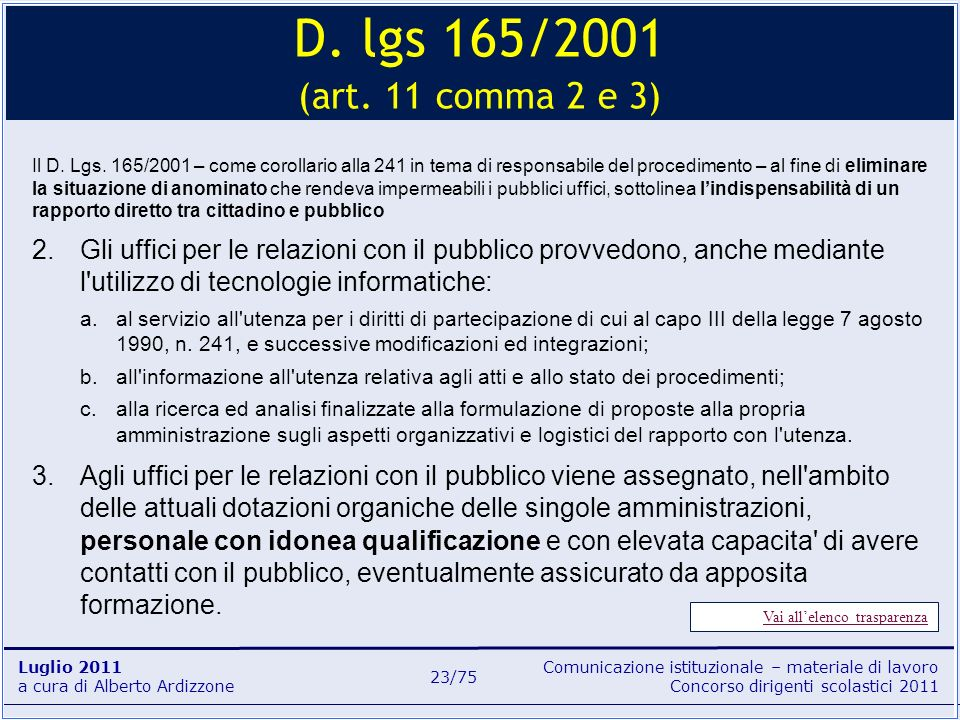 D. lgs 165/2001 (art. 11 comma 2 e 3)