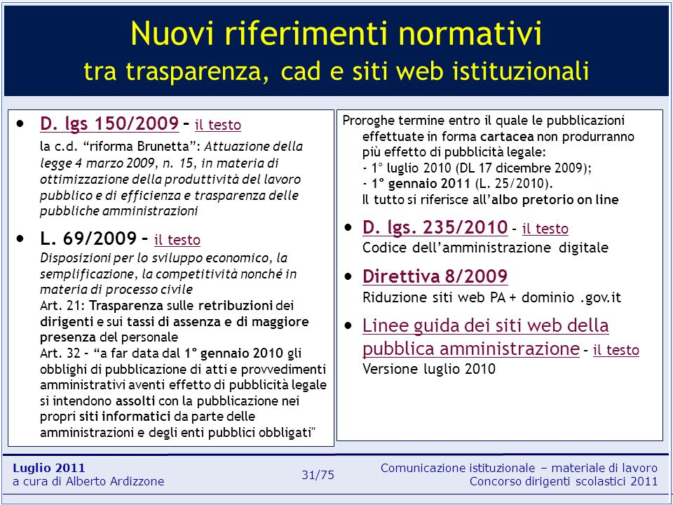 Nuovi riferimenti normativi tra trasparenza, cad e siti web istituzionali