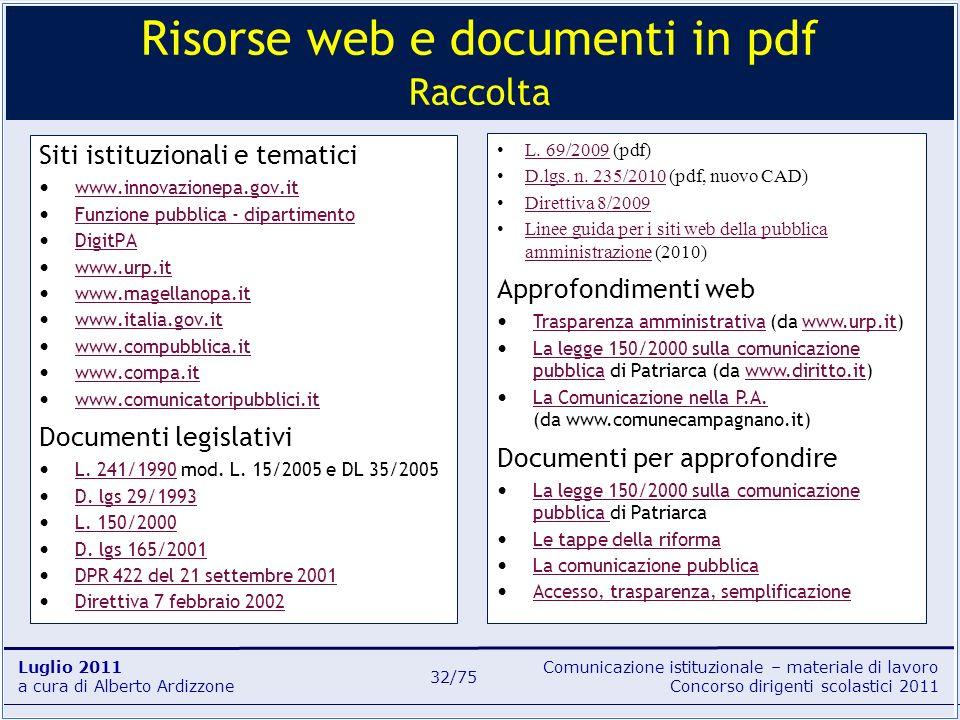 Risorse web e documenti in pdf Raccolta