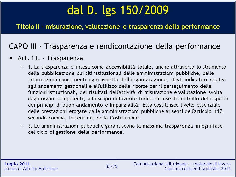 dal D. lgs 150/2009 Titolo II - misurazione, valutazione e trasparenza della performance