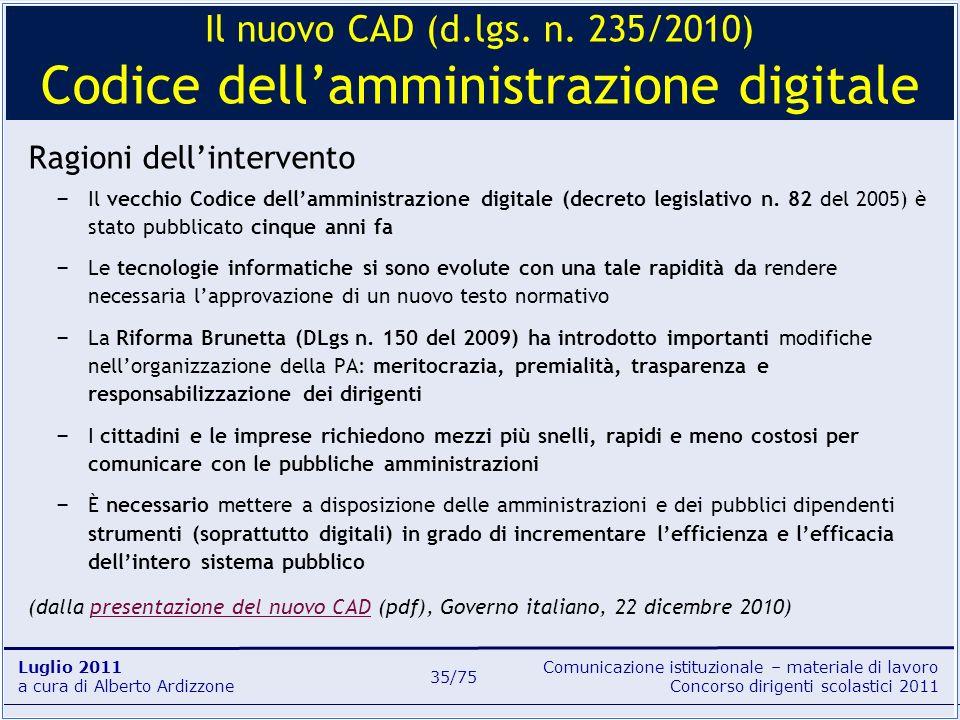 Il nuovo CAD (d.lgs. n. 235/2010) Codice dell'amministrazione digitale