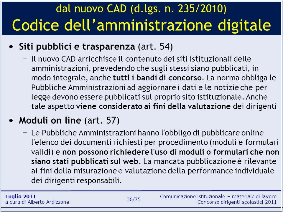 dal nuovo CAD (d.lgs. n. 235/2010) Codice dell'amministrazione digitale