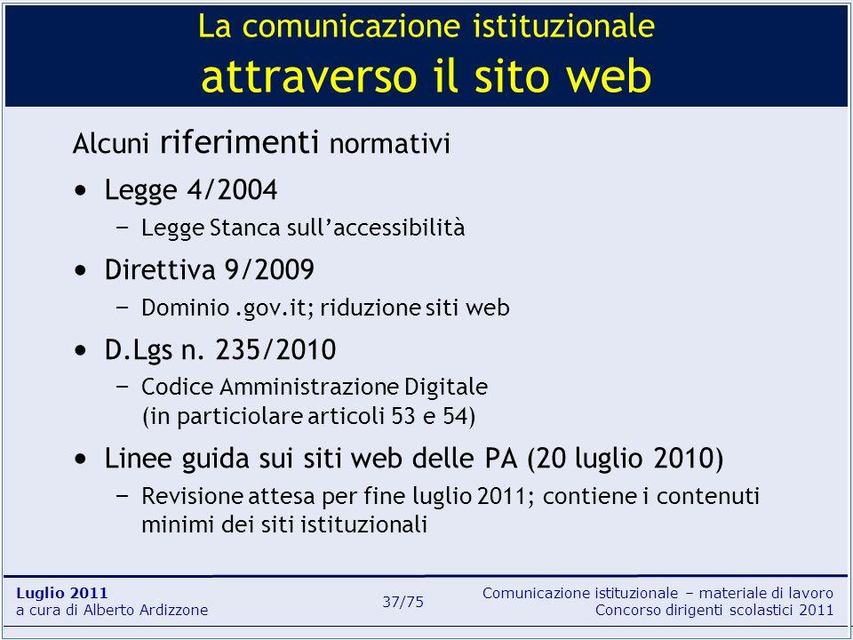 La comunicazione istituzionale attraverso il sito web