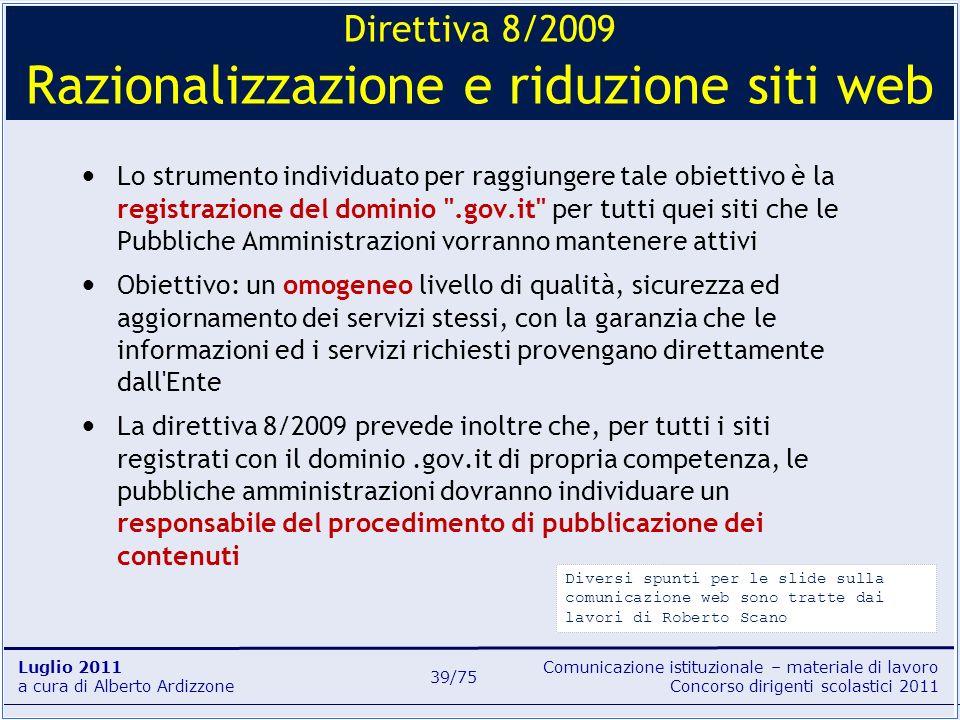 Direttiva 8/2009 Razionalizzazione e riduzione siti web