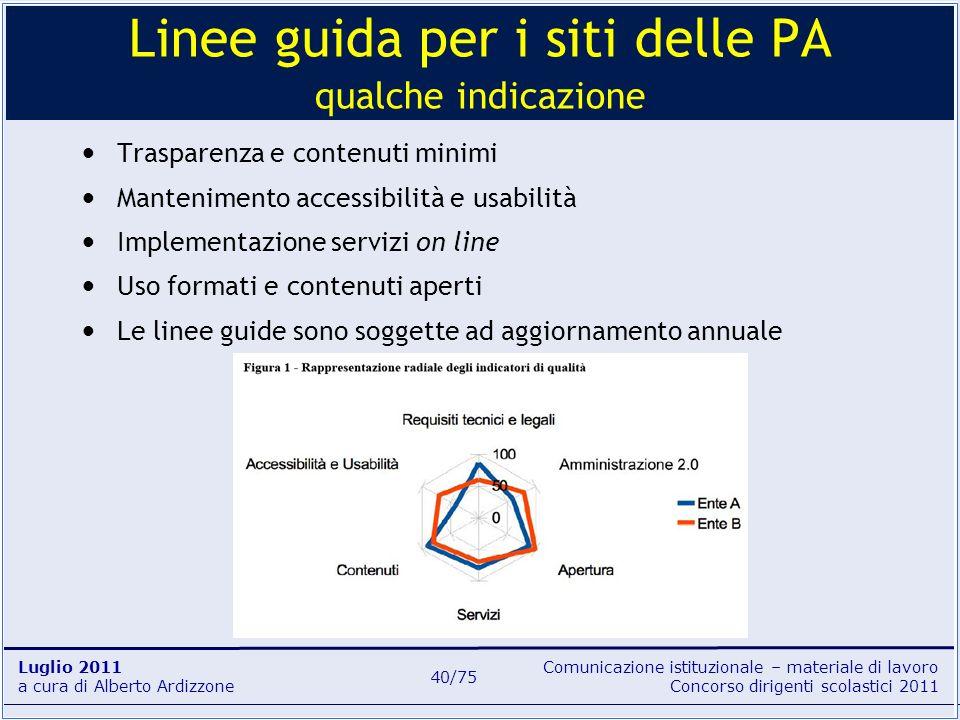 Linee guida per i siti delle PA qualche indicazione