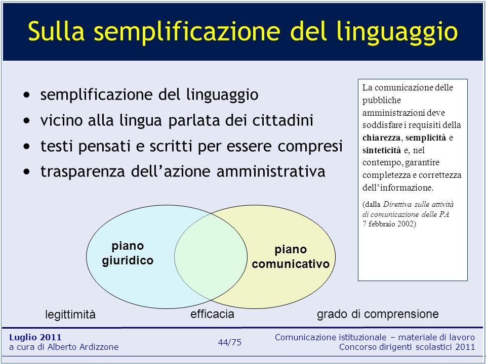 Sulla semplificazione del linguaggio