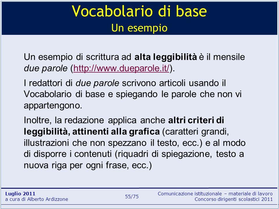 Vocabolario di base Un esempio