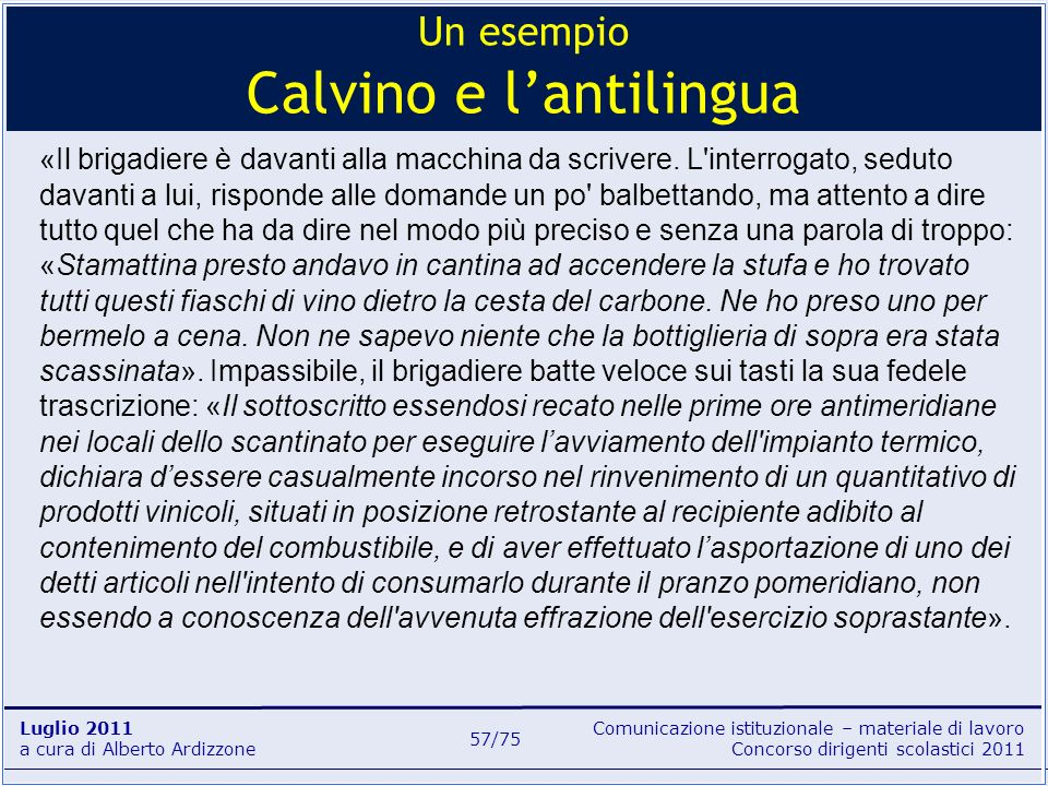 Un esempio Calvino e l'antilingua