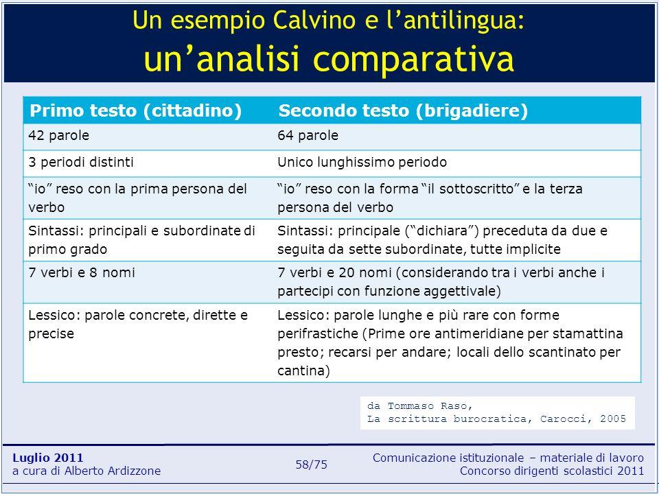 Un esempio Calvino e l'antilingua: un'analisi comparativa