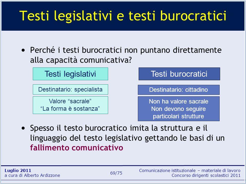 Testi legislativi e testi burocratici