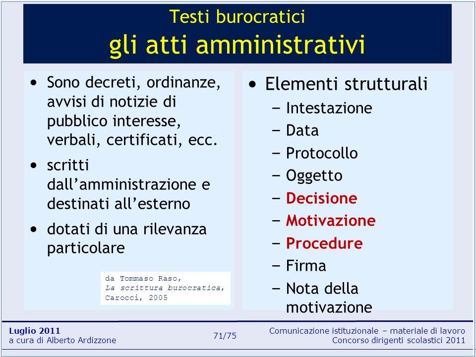Testi burocratici gli atti amministrativi