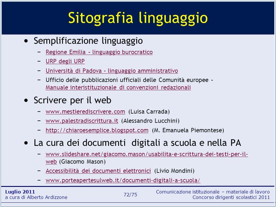 Sitografia linguaggio
