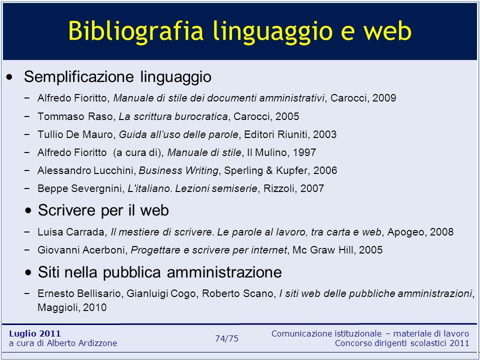 Bibliografia linguaggio e web