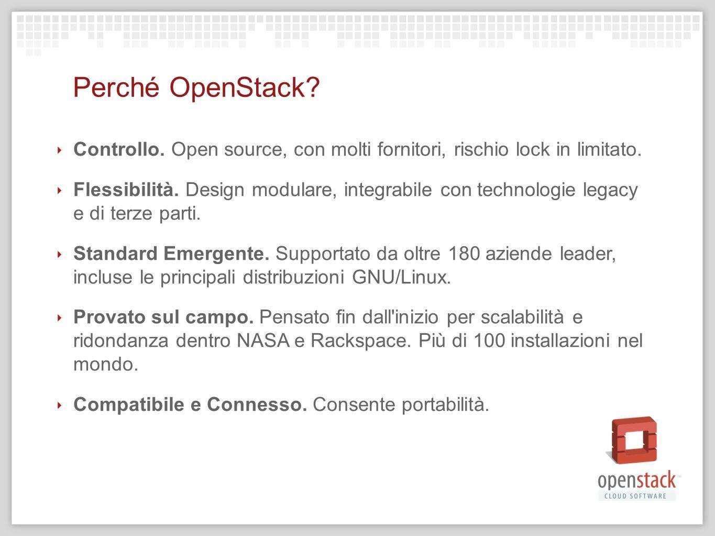 10/04/12 10/04/12. Perché OpenStack Controllo. Open source, con molti fornitori, rischio lock in limitato.