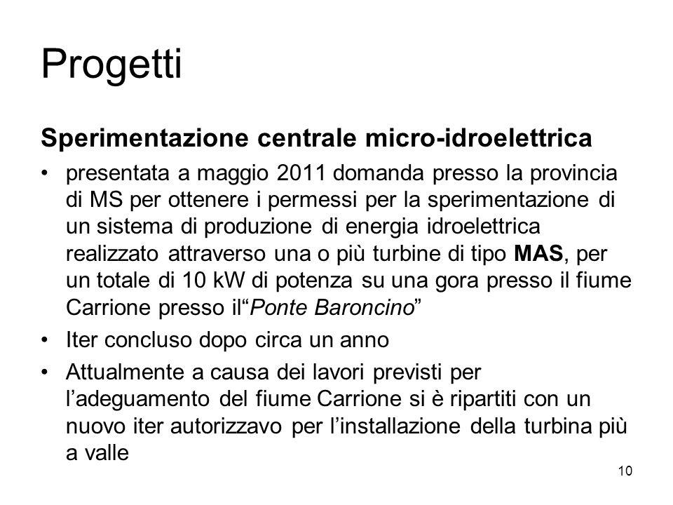Progetti Sperimentazione centrale micro-idroelettrica