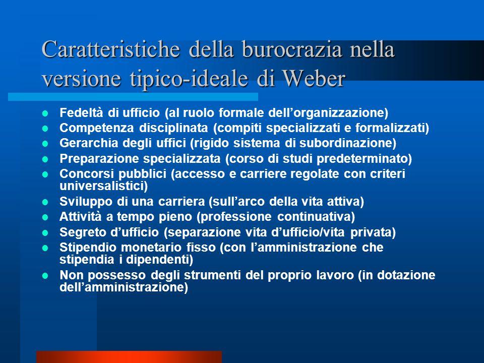 Caratteristiche della burocrazia nella versione tipico-ideale di Weber