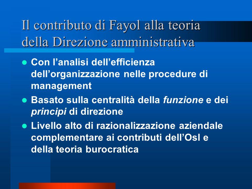 Il contributo di Fayol alla teoria della Direzione amministrativa
