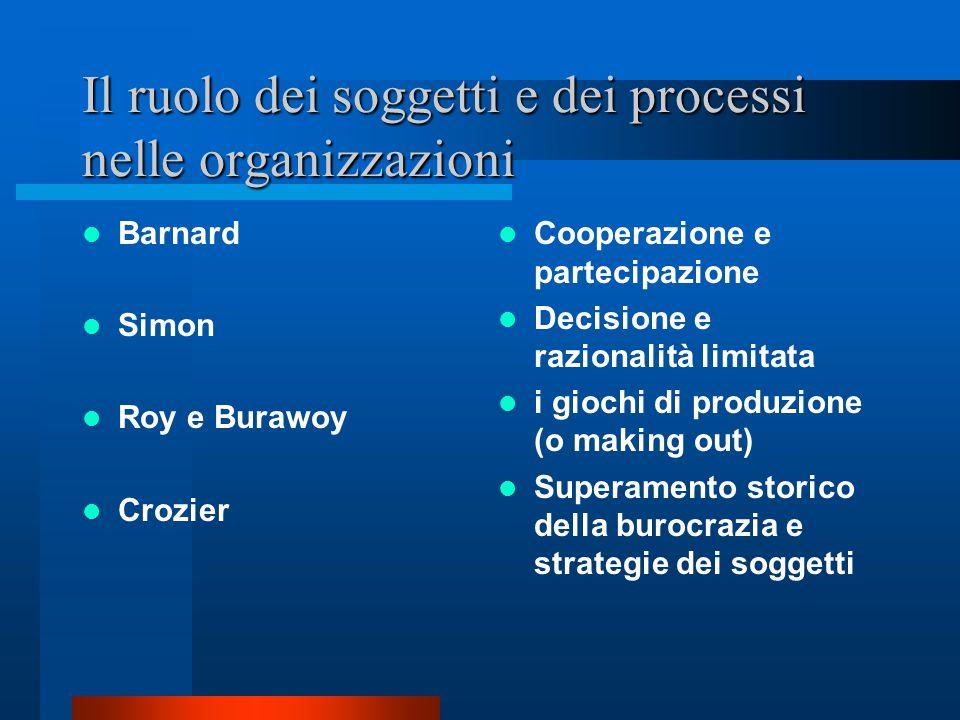 Il ruolo dei soggetti e dei processi nelle organizzazioni