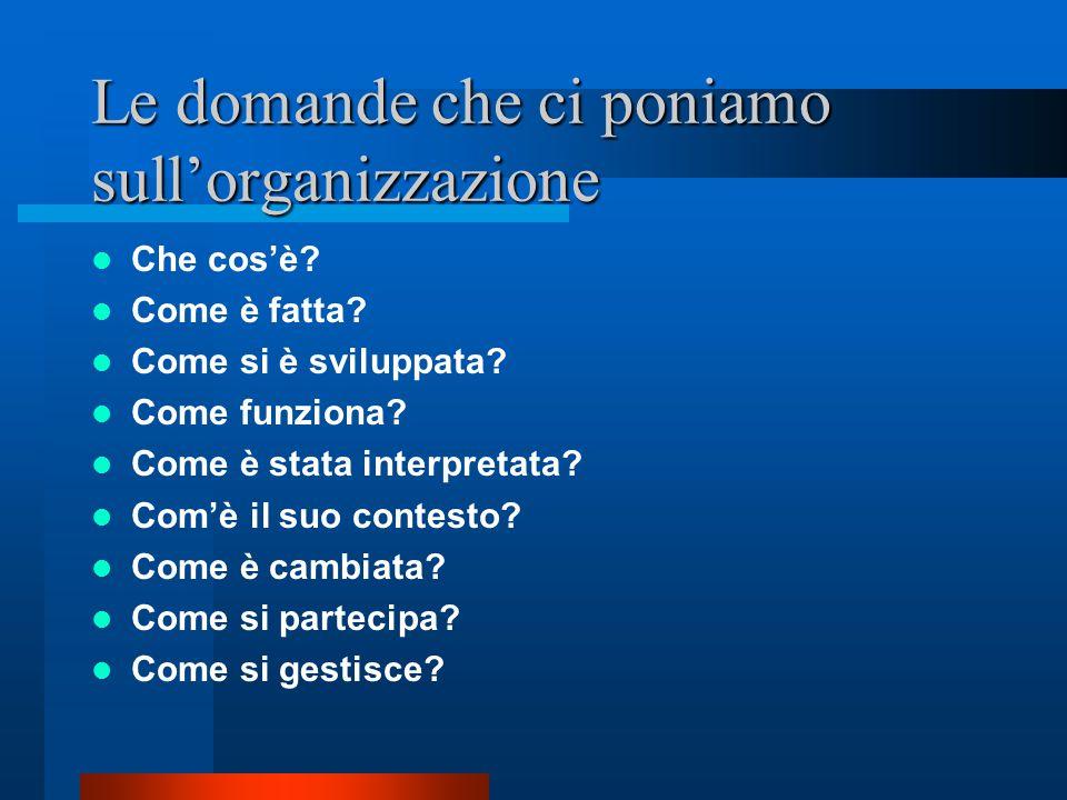 Le domande che ci poniamo sull'organizzazione