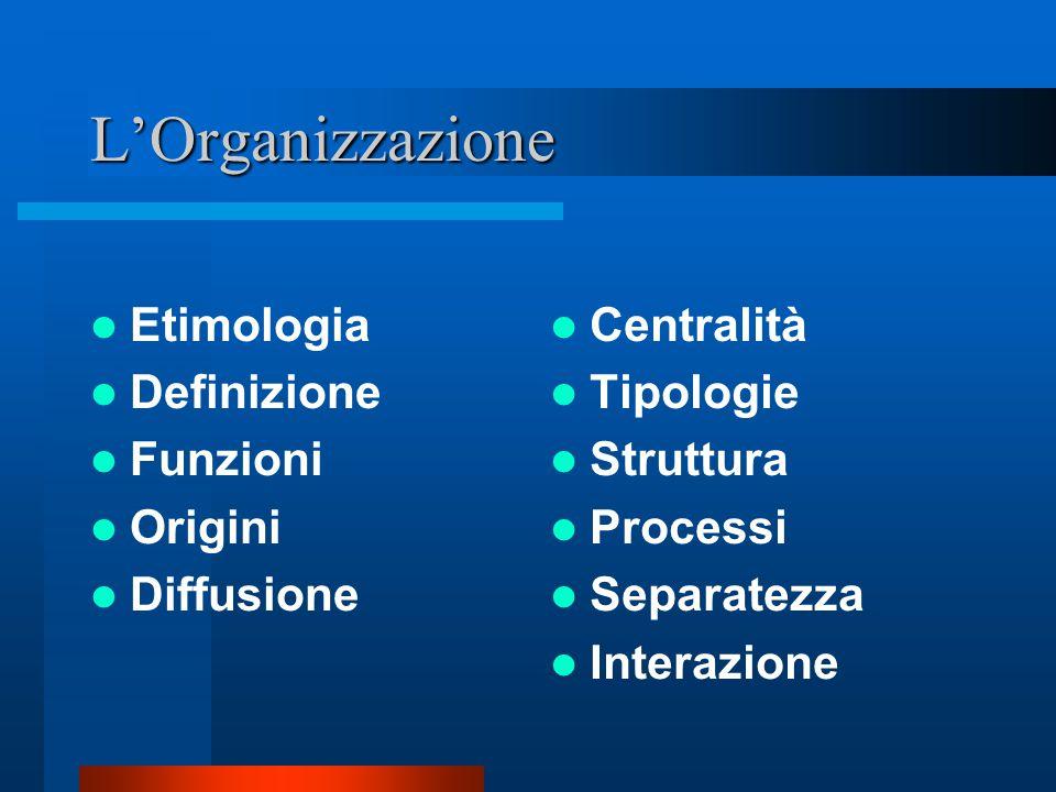 L'Organizzazione Etimologia Definizione Funzioni Origini Diffusione
