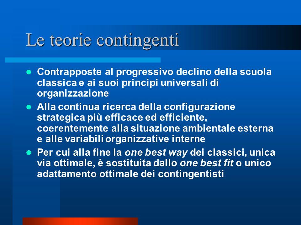Le teorie contingenti Contrapposte al progressivo declino della scuola classica e ai suoi principi universali di organizzazione.