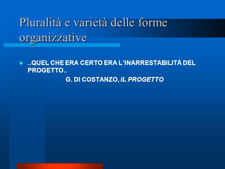 Pluralità e varietà delle forme organizzative