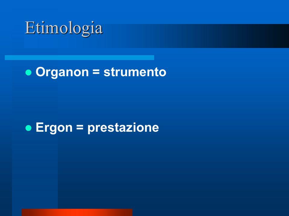 Etimologia Organon = strumento Ergon = prestazione
